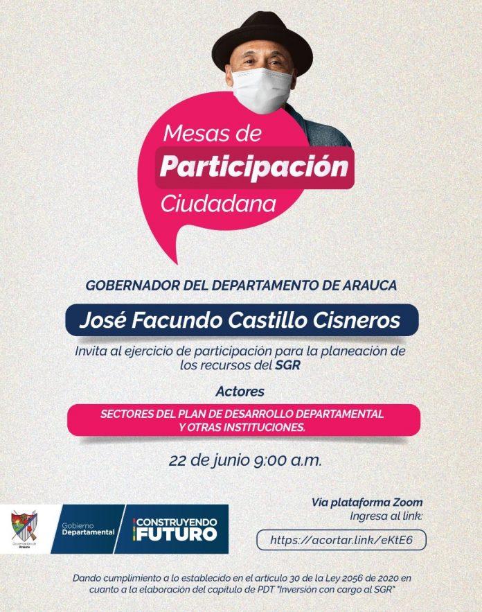 Gobernador Facundo Castillo adelanta este lunes y martes las mesas de participación ciudadana con ocasión del artículo 30 de la Ley 2056 de 2020 - Noticias de Colombia