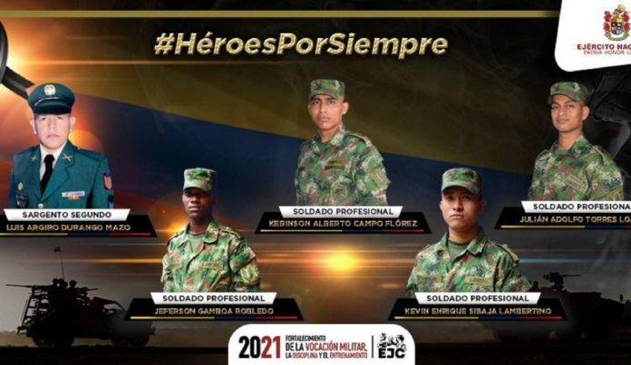 Estos son los cinco militares que murieron en ataque contra patrulla del Ejército en Arauca - Noticias de Colombia