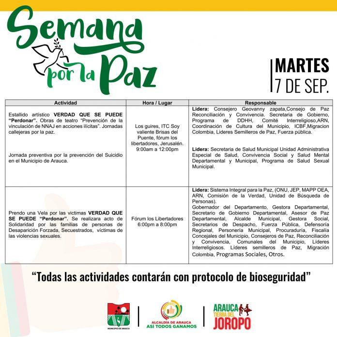 #AgendaDePaz. Este martes siguen las actividades en la Semana por la Paz. Prográmate y haz tu aporte. - Noticias de Colombia